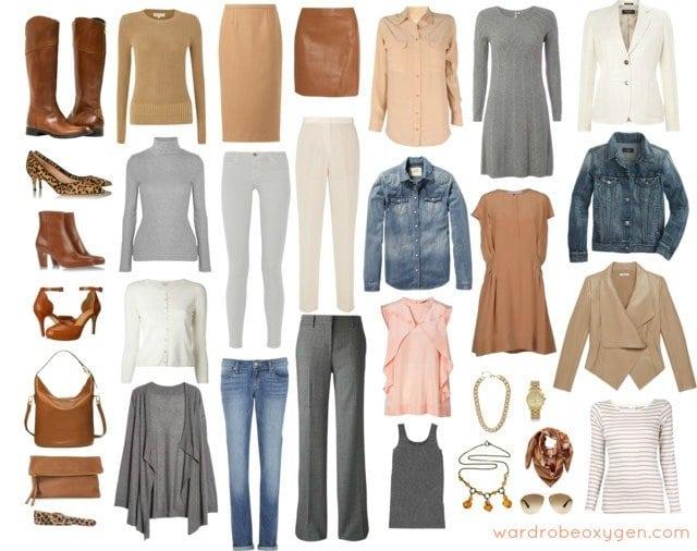 light neutrals fall winter capsule wardrobe collection closet