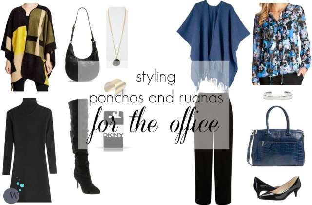 how to wear a ruana or poncho for the office by wardrobe oxygen