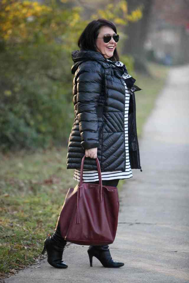 wardrobe oxygen featuring bernardo outerwear packable down parka and ADORA bags tote in limited edition marsala color