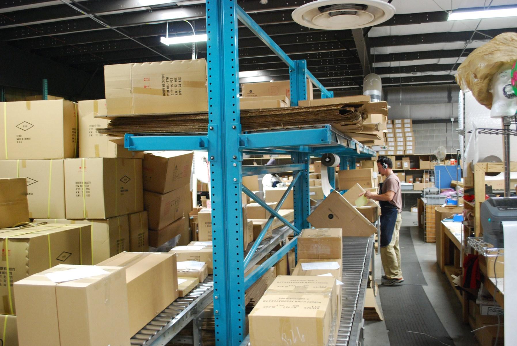 Cantilevered Shelves Over Conveyor