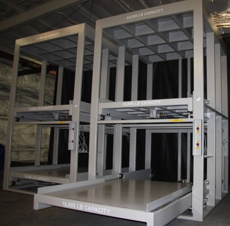 High Capacity Pneumatic Roll-Out Shelving