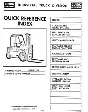 Clark C500 Y20 to Y300 forklift parts manual   Download PDF