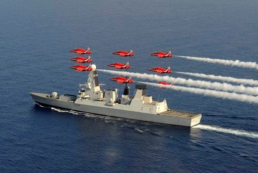 HMS Diamond and the Red Arrows