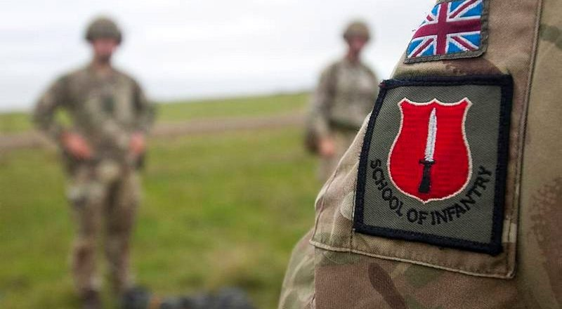 Soldiers from the School of Infantry, Brecon, Wales, in 2016