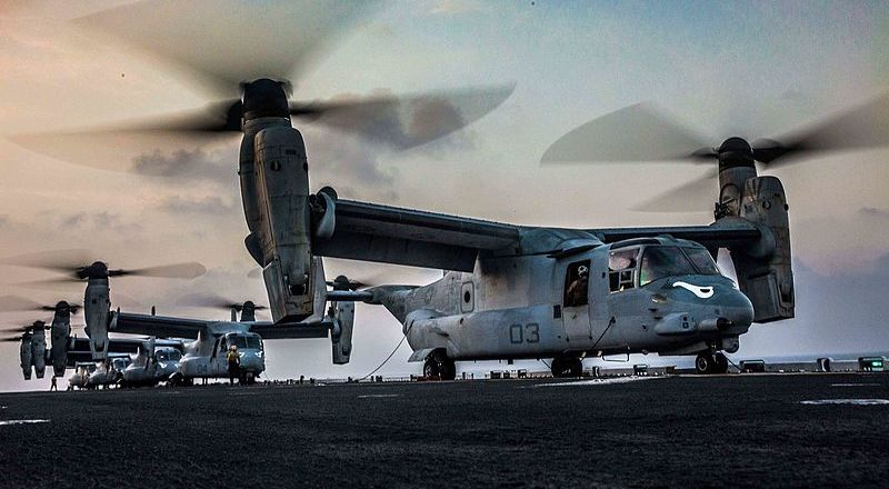 US Marine Corps MV-22 Ospreys on USS Makin Island, Marine Medium Tiltrotor Squadron 163, Ex Alligator Dagger, Gulf of Aden, 21 Dec 2016, by LCpl Brandon Maldonado (US Marine Corps)