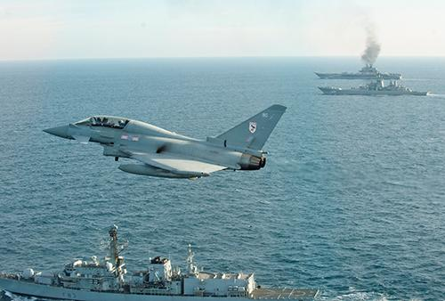 RAF Typhon Monitors Russian Carrier Admiral Kuznetsov MOD Crown Copyright