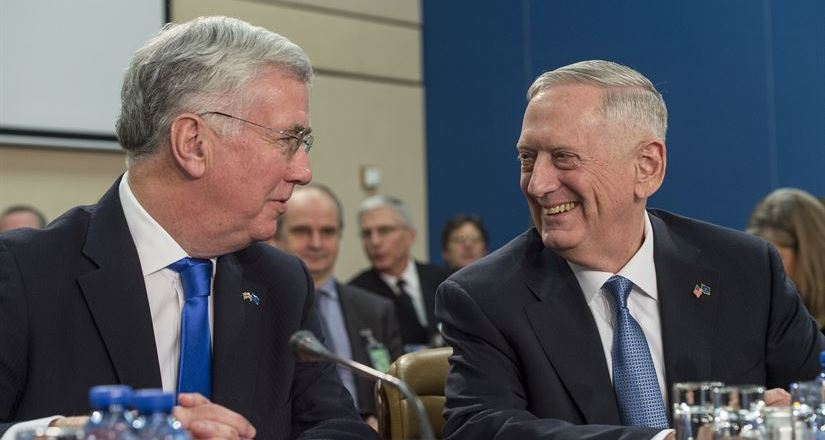 Sec Def Jim Mattis with UK Def Sec Michael Fallon, NATO Conference, Brussels, 15 Feb 2017, by Sgt Brigitte N Brantley (US DOD)