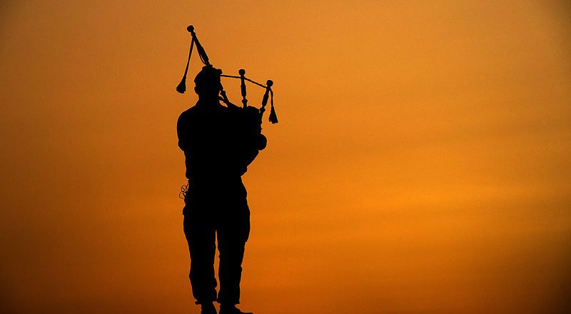 British Army 4 Scots Royal Regiment of Scotland, Piper at Camp Bastion, Afghanistan, 30 May 2014, by Cpl Daniel Wiepen (Crown Copyright)
