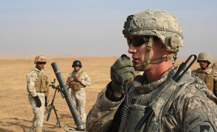 US Army 1st Squadron, 9th Cavalry, Capt Ben Jackman with Iraqi Army during live fire exercise, photo by capt Philip Crabtree, 9 Dec 2010