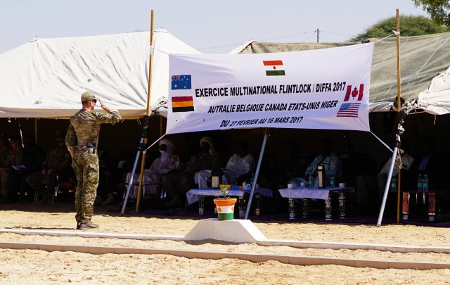US Army Special Forces, Commander salutes flag, opening ceremony Flintlock 2017 in Diffa, Niger, 27 Feb 2017, by Zayid Ballesteros