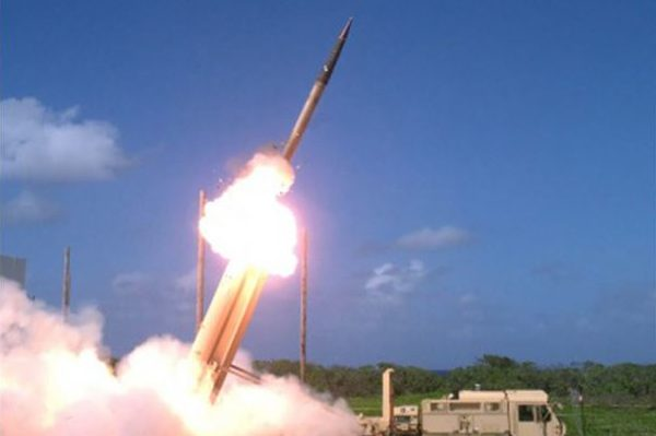 US Defense Missile Agency, Terminal High Altitude Area Defense (THAAD) interceptor launch during testing, Wake Island, 1 Nov 2015, by Ben Listerman