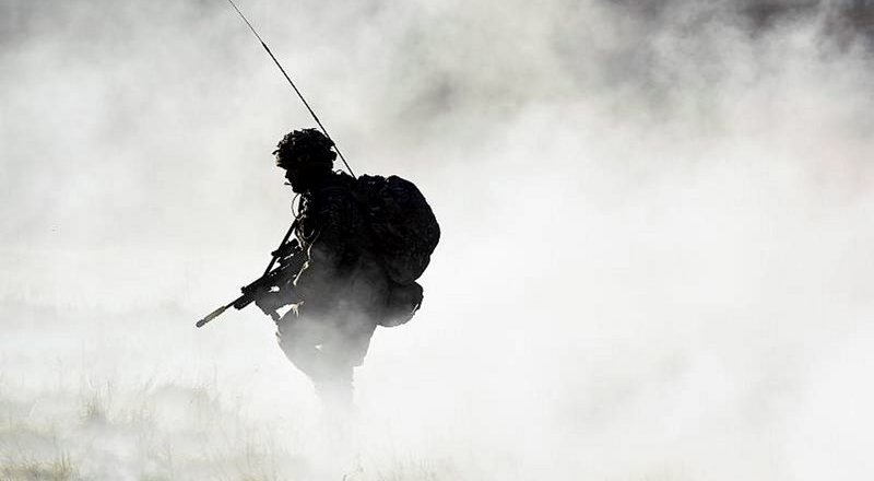 British Army Air Corps soldier with Bowman comms (Crown Copyright)
