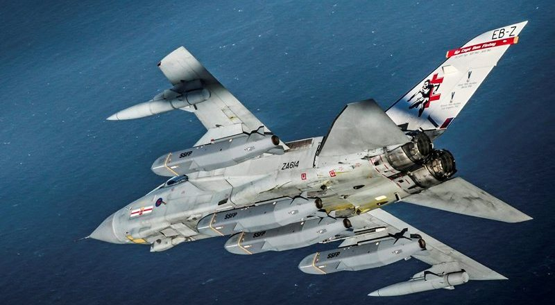 RAF 41 Squadron Tornado GR4, preparing to test fire four Storm Shadow missiles over the Atlantic Ocean by Cpl Mark Parkinson (Crown Copyright, 2017)
