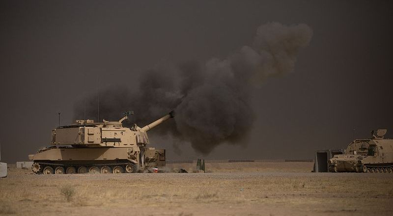 US Army M109A6 Paladin conducts a fire mission at Qayyarah West, Iraq, in support of the Iraqi security forcesâ push toward Mosul, Oct 17, 2016, by Christopher Brecht