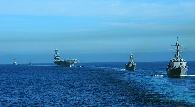 US Navy Carl Vinson Strike Group, USS Stockdale, USS Gary, USS Carl Vinson, USS Rentz, USS Gridley, 9 Dec 2010 (US Navy)