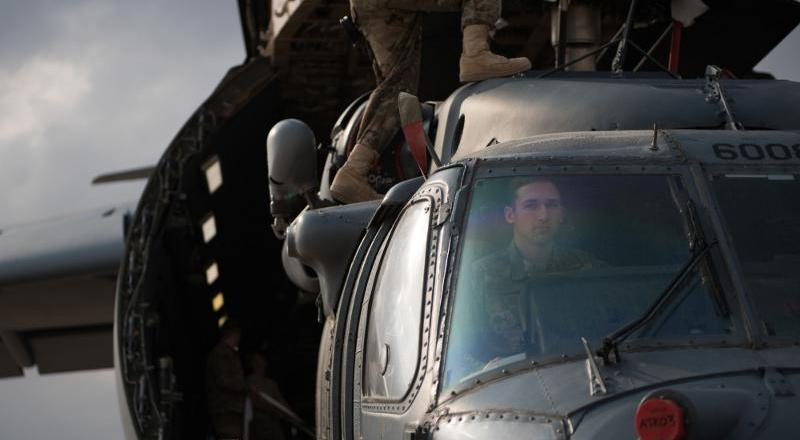 USAF 823rd Maintenance Sq loading HH-60G Pave Hawk from 66th Rescue Sq at Al Asad Airbase, Iraq 13 Feb 2017, by MSgt Benjamin Wilson