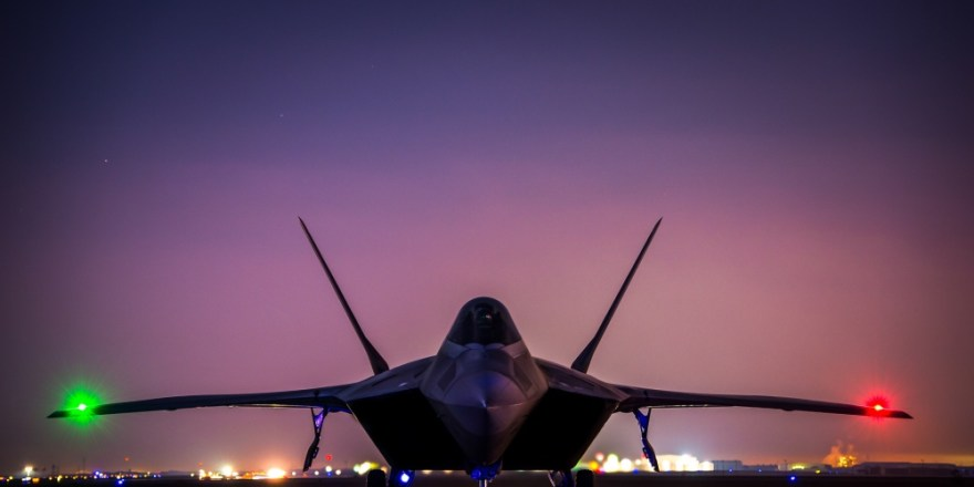 USAF F-22 Raptor, 380th Air Expeditionary Wing, during Inherent Resolve, 14 Dec 2016, by Tyler Woodward