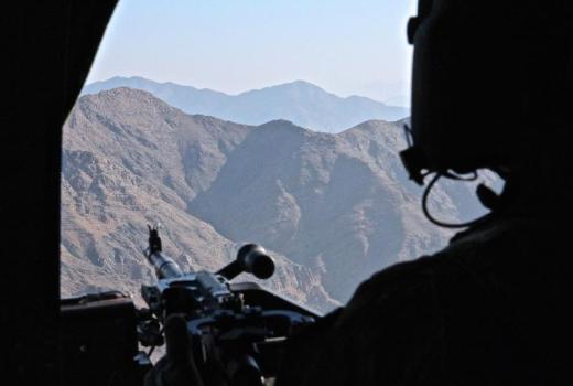 US Army 82nd Combat Aviation Brigade, Task Force Wolfpack, UH-60 Black Hawk over Nangarhar Province, Feb 9, 2015, Op Resolute Support [800px]