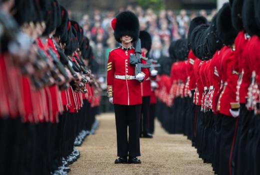 British Army, Number 7 Company Coldstream Guards, Colonels Review before Trooping the Colour, by Rupert Frere (Crown Copyright, 2016)