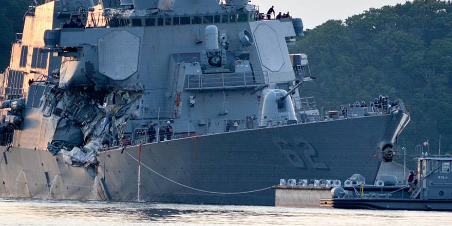 US Navy USS Fitzgerald guided-missile destroyer after a collision with a merchant ship 17 June 2017, by Peter Burghart (US Navy)