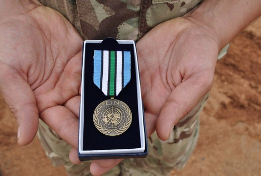 UNMISS medal presented to British Army soldiers in Op TRENTON 2, South Sudan (Crown Copyright, 2017)