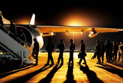 British Army, Troops boarding a Royal Air Force Voyager aircraft on their way home from Camp Bastion in Afghanistan (Crown Copyright, 2013)