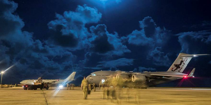 RAF C-17 Transporting British Army soldiers deployed on Operation RUMAN after Hurricane Irma, Caribbean (Crown Copyright, 2017)