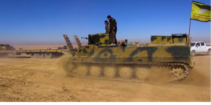 Syrian Democratic Forces (SDF), unloading an MT-LB, 7 February 2017 (VOA, 2017)
