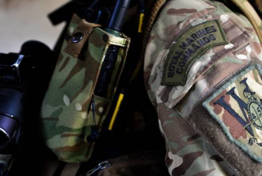 Royal Marines, a member of 45 Commando Royal Marines during Exercise Blue Raptor (Crown Copyright, 2015)