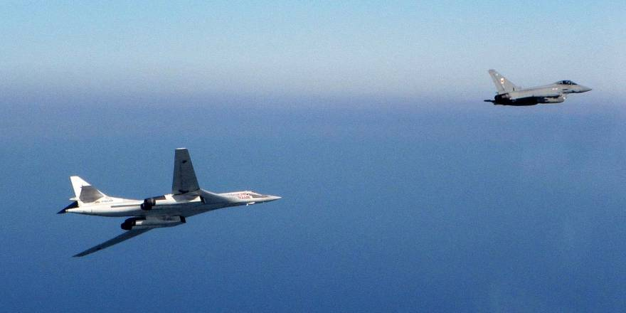 RAF Typhoon intercepts Russian Blackjack Tupolev Tu-160 bombers (Crown Copyright, 2018)