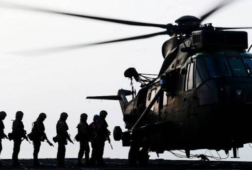 Royal Marines, Bravo Company 40 Commando board a Sea King Helicopter during Ex Southwest Sword [Crown Copyright, 2014]