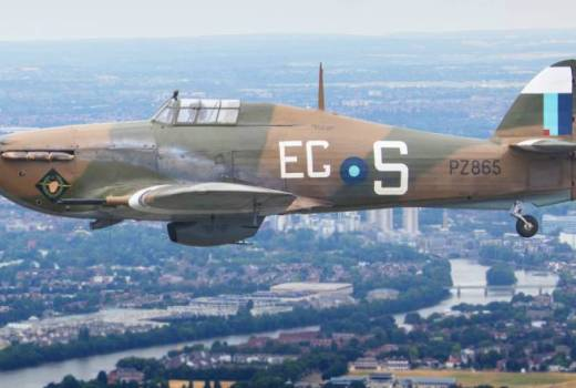 RAF Battle of Britain Memorial Flight WWII Hawker Hurricane in RAF100 London Flypast (Crown Copyright, 2018)