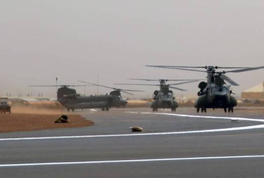 RAF CH-47 Chinooks arrive in Mali with British Army soldiers in support of French Operation Barkhane (Crown Copyright, 2018)