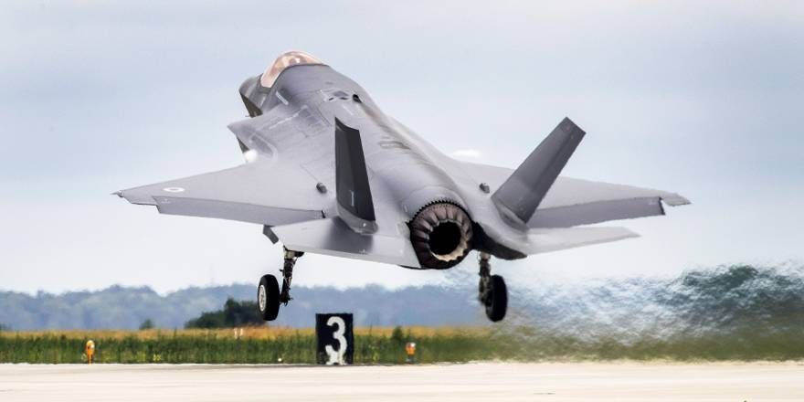 RAF 617 Squadron F-35B Lightning II landmark flight armed with British weapons (Crown Copyright, 2018) [orig]