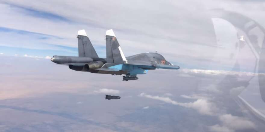 Russian Aerospace Forces, Su-34 dropping a KAB-500S-E bomb over Syria (MOD RF, 2015)