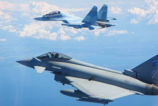 Russian SU-30 Flanker and RAF Typhoon, 7Saturday 15 June 2019 over the Baltic Sea (Crown Copyright, 2019) [880][news]
