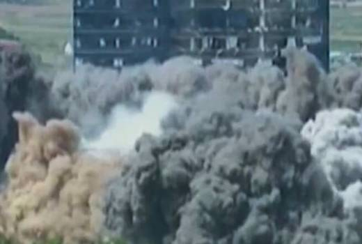 North Korea Destroys Building (June 2020) South Korean TV screen shot [880]