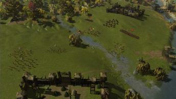 Camps romains et belges se faisant face.