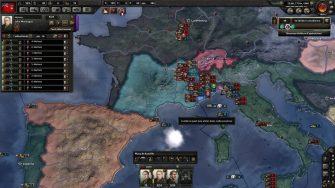 La France de Vichy s'est bien créée, ce que je n'avais jamais vu avant le patch. Bon, on voit toujours que l'IA tente des débarquement suicidaires et pas très réalistes. Là le Royaume-Uni en Italie.