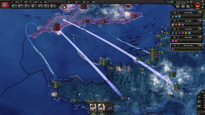Screenshot de PAradox montrant un exemple de l'opération Sea Lion dans le jeu.