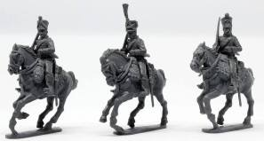 Left to right Chasseurs in 1812-15 full dress, 1808-12 full dress, 1808-12 campaign dress