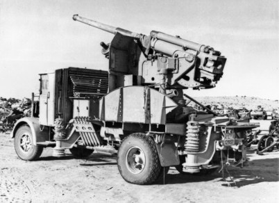 Lancia truck mounted 90-53 anti-aircrft gun abandoned by Rommel's army in February 1943