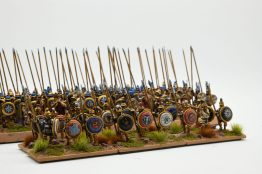Iphikratean hoplites lead the phlangites to battle