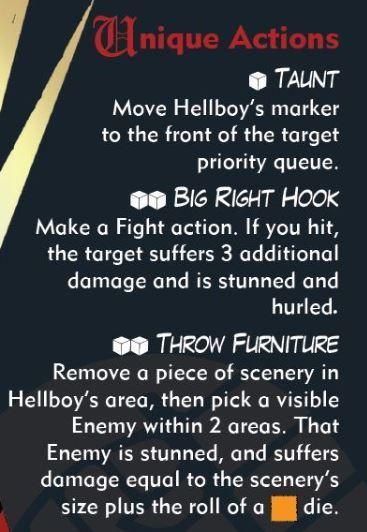 Hellboy: The board Game Carta de Agente Acciones Únicas