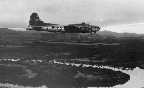 Camoflaged Boeing B-17E on patrol of the approaches to the vital Panama Canal. (U.S. Air Force photo)