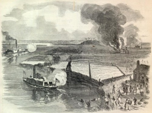 The John Adams, carrying Tubman and Montgomery, firing upon the Combahee Ferry