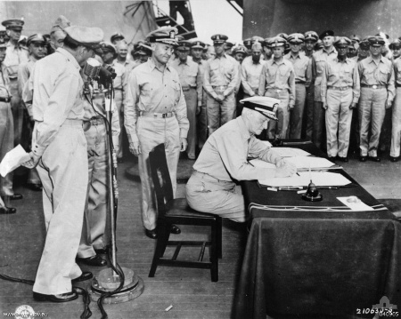 Signing the Japanese Instrument of Surrender aboard the USS Missouri