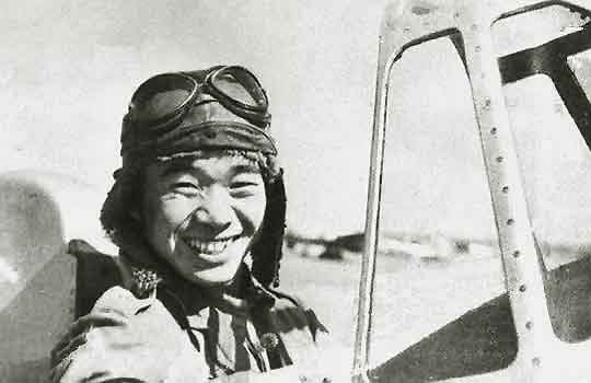 Saburō Sakai in the cockpit of a Mitsubishi A5M Type 95 fighter at the Hankow Airfield in China in 1939