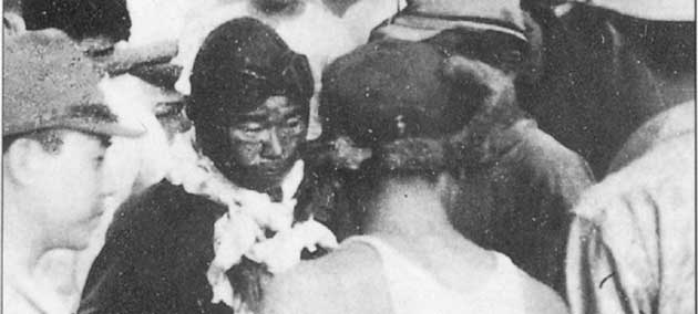 Rabaul, 8 August 1942: A seriously wounded Sakai returns to Rabaul with his damaged Zero after a four-hour, 47-minute flight over 560 nmi (1,040 km; 640 mi). Sakai's skull was penetrated by a machine-gun bullet and he was blind in one eye, but insisted on making his mission report before accepting medical treatment.