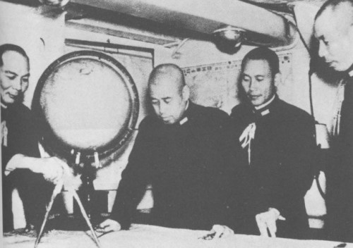 Yamamoto with staff on Nagato sometime in 1940.